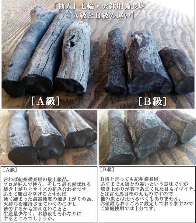 七輪火鉢用備長炭A級とB級の比較