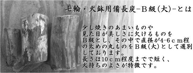 七輪火鉢用備長炭B級(大)の説明