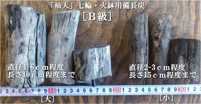 七輪火鉢用備長炭B級大・小サイズの比較