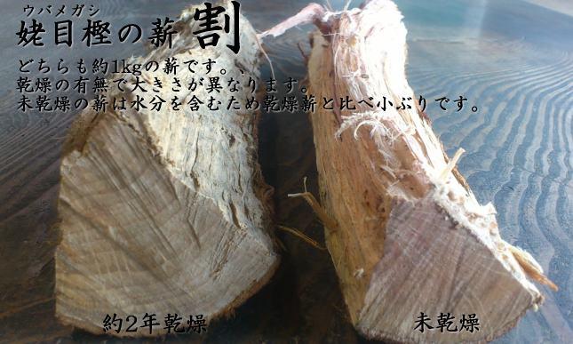 紀州備長炭の原木ウバメガシの薪(乾燥済みと未乾燥の割モノ比較)